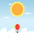 Hot air balloon in the sky vector illustration with Royalty Free Stock Image