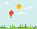 Hot air balloon in the sky vector illustration with Stock Photos