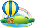 A hot air balloon with three animals illustration of on white background Stock Photos