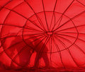 Hot air balloon two silhouettes red Stock Images