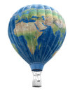 Hot Air Balloon with World Map (clipping path included) Royalty Free Stock Photo