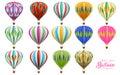 Hot air balloons collection set Royalty Free Stock Photo