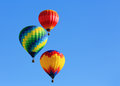 Hot air balloons colorful over blue sky Stock Images