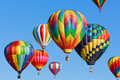 Hot air balloons colorful over blue sky Royalty Free Stock Images