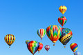 Hot air balloons colorful over blue sky Royalty Free Stock Photography