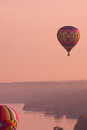 Hot air balloons early morning along the hudson river Royalty Free Stock Image