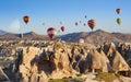 Hot air balloons fly in clear morning sky near Goreme, Kapadokya