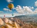 Hot air balloons flying over Cappadocia, Turkey Royalty Free Stock Photo