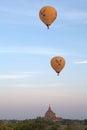 Hot air balloons over the ruins of Bagan, Myanmar Royalty Free Stock Photo