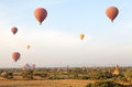 Hot air balloons over the ruins of Bagan, Myanmar Royalty Free Stock Photo