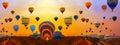 Hot air balloons panorama landscape Royalty Free Stock Photo