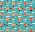 Hot air balloons and planes pattern