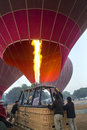 Hot air balloons ready to launch dawn bagan myanmar burma Royalty Free Stock Images