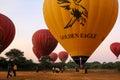 Hot-air balloons ready to take off, Bagan, Myanmar Royalty Free Stock Photo