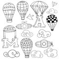 Hot air balloons set doodle elements birds clouds parachutes lifting letters a and m of Stock Photography