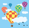 Hot air balloons in the sky Royalty Free Stock Photography