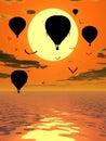 Hot Air Balloons at Sunset Illustration Royalty Free Stock Photo