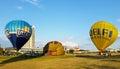 Hot air balloons with Utena and Delfi logo Royalty Free Stock Photo