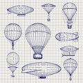 Hot air balloons and zeppelins sketch