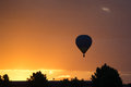 Hot air silouette in the sunser Royalty Free Stock Image