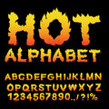 Hot Alphabet. Flame font. Fiery letters. Burning ABC. Fire typog Royalty Free Stock Photo
