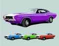 Hot american muscle car vector illustration Royalty Free Stock Photo
