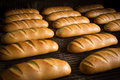 Hot baked breads on a line fresh bread loafs the production Stock Photo
