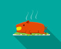 Hot Barbecue suckling pig in flat style, side view Royalty Free Stock Photo
