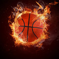 Hot basketball in fires flame Royalty Free Stock Photos
