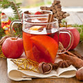 Hot beverage for christmas with winter spices Stock Photo