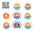 Hot big season summer sale stickers or banners set Royalty Free Stock Photo