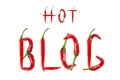 Hot blog text composed of chili peppers isolated on white backg background Royalty Free Stock Images
