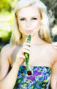 Hot Blonde Girl Smoking Leaf Royalty Free Stock Photo