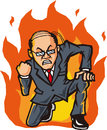 Hot blooded businessman business man burning with anger Stock Photos