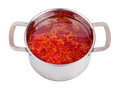 Hot borsch in a steel pan isolated Royalty Free Stock Photo