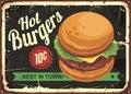 Hot burgers retro tin sign design Royalty Free Stock Photo