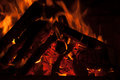 Hot Burning Logs on Fire Stock Photography