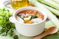 Hot chicken soup with vegetables Royalty Free Stock Photo