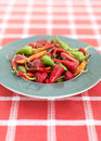 Hot chili peppers on a plate Royalty Free Stock Photo