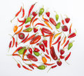 Hot chili peppers on white background Stock Photography