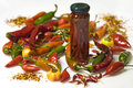 Hot chilli peppers preserved dried and fresh Stock Image