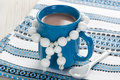 Hot chocolate in blue cup for winter drink Stock Image