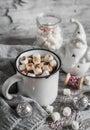 Hot chocolate and a ceramic Santa Claus Royalty Free Stock Photo