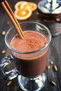 Hot chocolate with cinnamon stick in a cup Stock Image