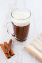 Hot chocolate with cream whipped Stock Photo