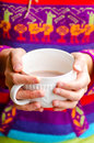 Hot chocolate cup woman hands holding a Royalty Free Stock Image