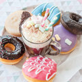 Hot chocolate and donuts Royalty Free Stock Photo