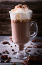 Hot chocolate garnished with whipped cream Royalty Free Stock Photo