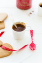 Hot chocolate and gingerbread cookies holiday drinks in cold weather homemade is delicious homey comforting Stock Image