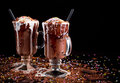 Hot chocolate ice cream float dessert in a big cup Royalty Free Stock Photo
